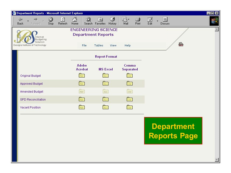 Department Reports Page