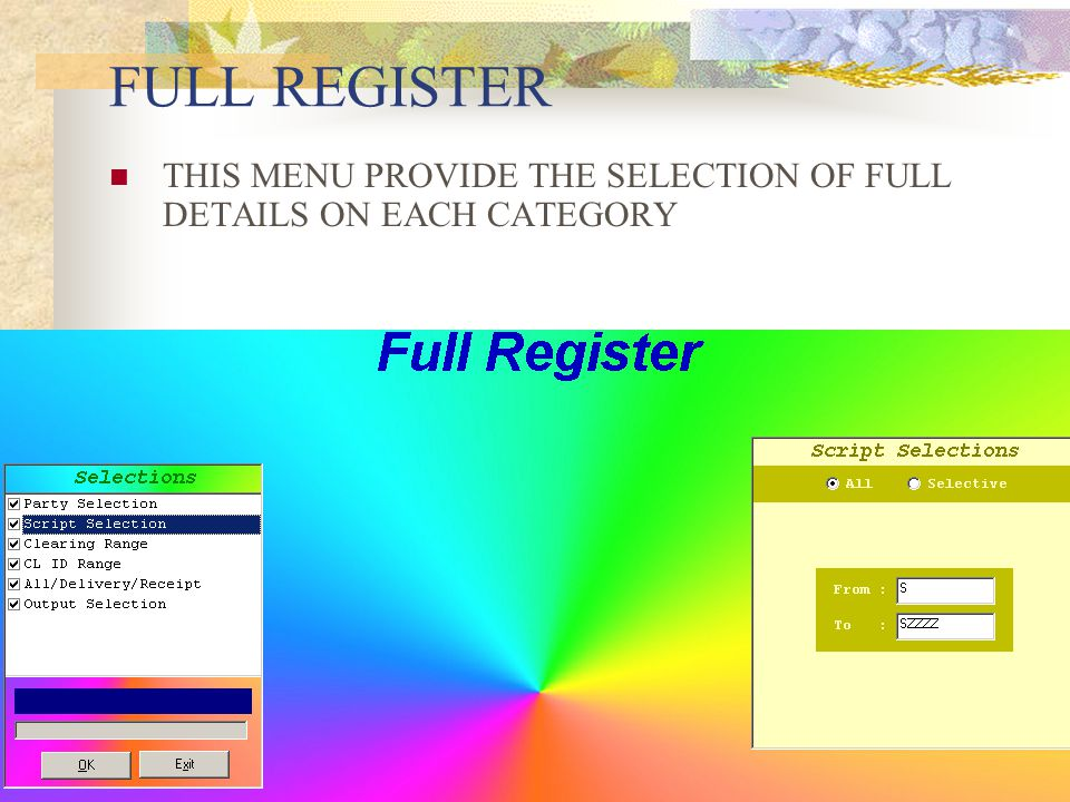PENDING REGISTER THIS MENU PROVIDE THE SELECTION OF PENDING ON EACH CATEGORY