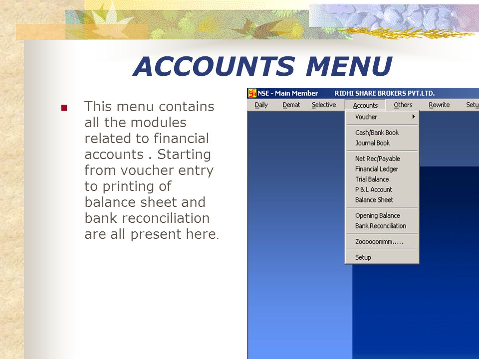 STOCK STATEMENT THIS MENU PROVIDE THE SELECTION OF STOCK STATEMENT ON EACH CATEGORY