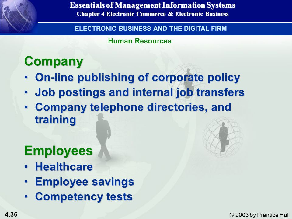 4.36 © 2003 by Prentice Hall Human Resources Company On-line publishing of corporate policyOn-line publishing of corporate policy Job postings and internal job transfersJob postings and internal job transfers Company telephone directories, and trainingCompany telephone directories, and trainingEmployees HealthcareHealthcare Employee savingsEmployee savings Competency testsCompetency tests Essentials of Management Information Systems Chapter 4 Electronic Commerce & Electronic Business ELECTRONIC BUSINESS AND THE DIGITAL FIRM