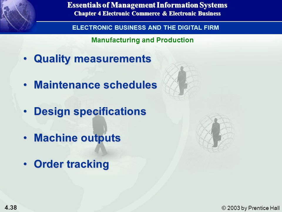 4.38 © 2003 by Prentice Hall Manufacturing and Production Quality measurementsQuality measurements Maintenance schedulesMaintenance schedules Design specificationsDesign specifications Machine outputsMachine outputs Order trackingOrder tracking Essentials of Management Information Systems Chapter 4 Electronic Commerce & Electronic Business ELECTRONIC BUSINESS AND THE DIGITAL FIRM