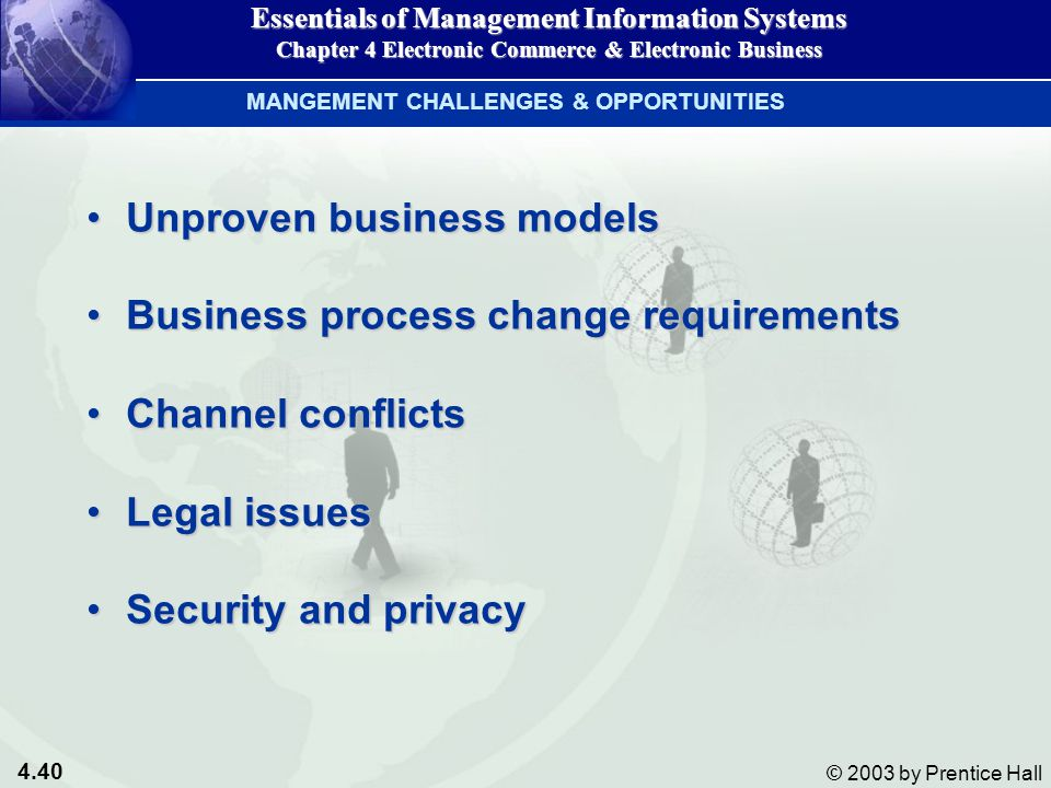 4.40 © 2003 by Prentice Hall Unproven business modelsUnproven business models Business process change requirementsBusiness process change requirements Channel conflictsChannel conflicts Legal issuesLegal issues Security and privacySecurity and privacy MANGEMENT CHALLENGES & OPPORTUNITIES Essentials of Management Information Systems Chapter 4 Electronic Commerce & Electronic Business