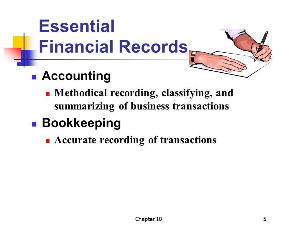 Chapter 105 Essential Financial Records Accounting Methodical recording, classifying, and summarizing of business transactions Bookkeeping Accurate recording of transactions