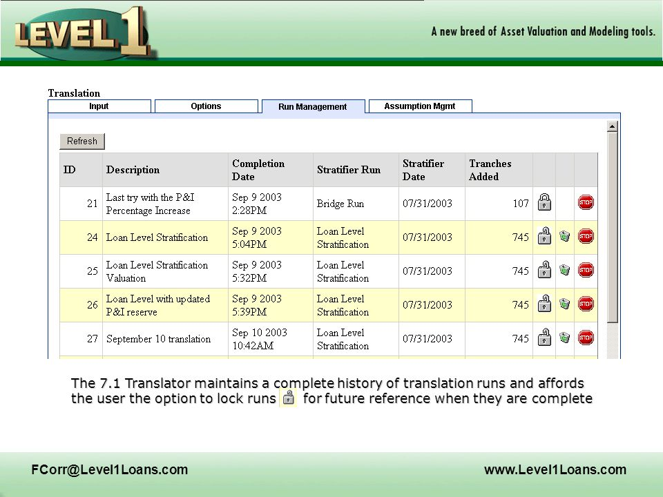 FCorr@Level1Loans.comwww.Level1Loans.com The 7.1 Translator maintains a complete history of translation runs and affords the user the option to lock r