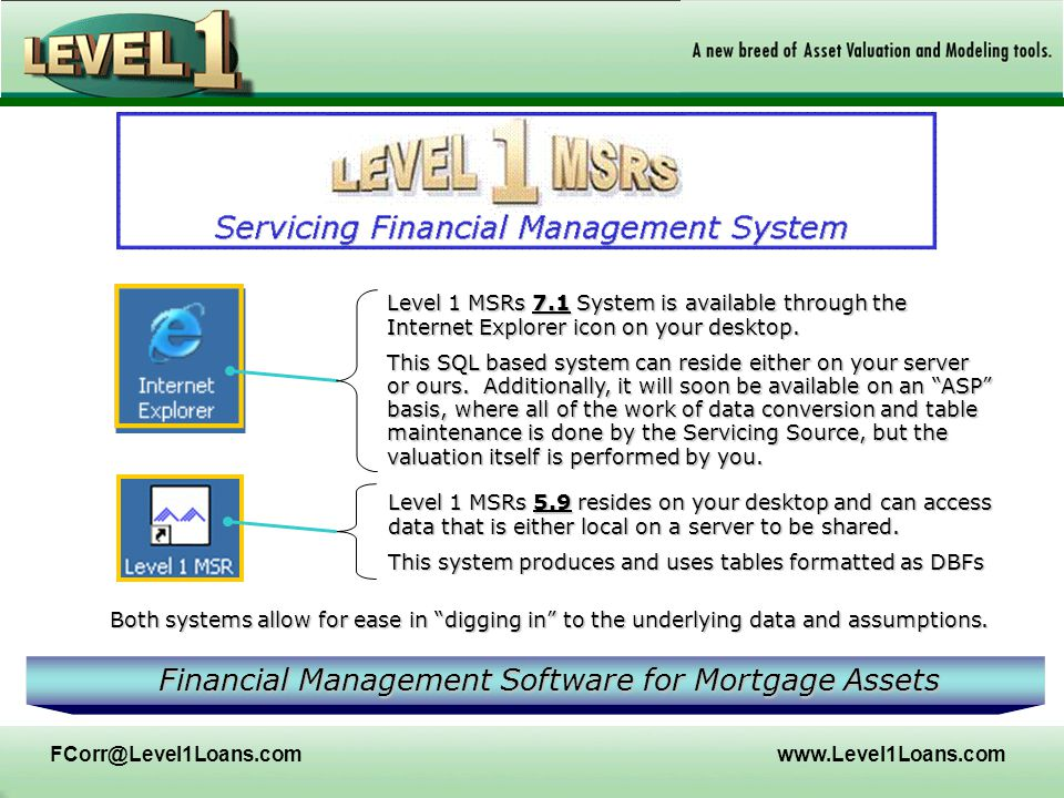 FCorr@Level1Loans.comwww.Level1Loans.com Level 1 MSRs 7.1 System is available through the Internet Explorer icon on your desktop. This SQL based syste