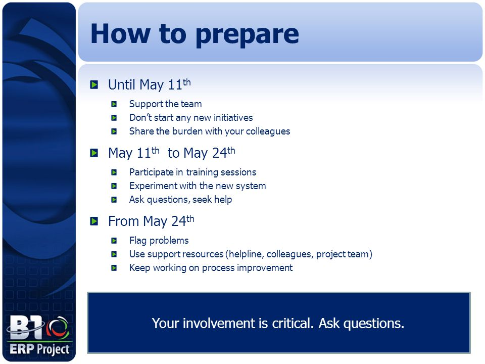 Until May 11 th Support the team Don't start any new initiatives Share the burden with your colleagues May 11 th to May 24 th Participate in training