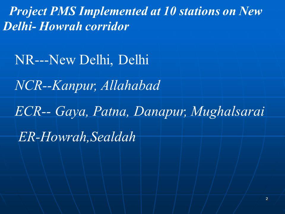 2 Project PMS Implemented at 10 stations on New Delhi- Howrah corridor NR---New Delhi, Delhi NCR--Kanpur, Allahabad ECR-- Gaya, Patna, Danapur, Mughalsarai ER-Howrah,Sealdah