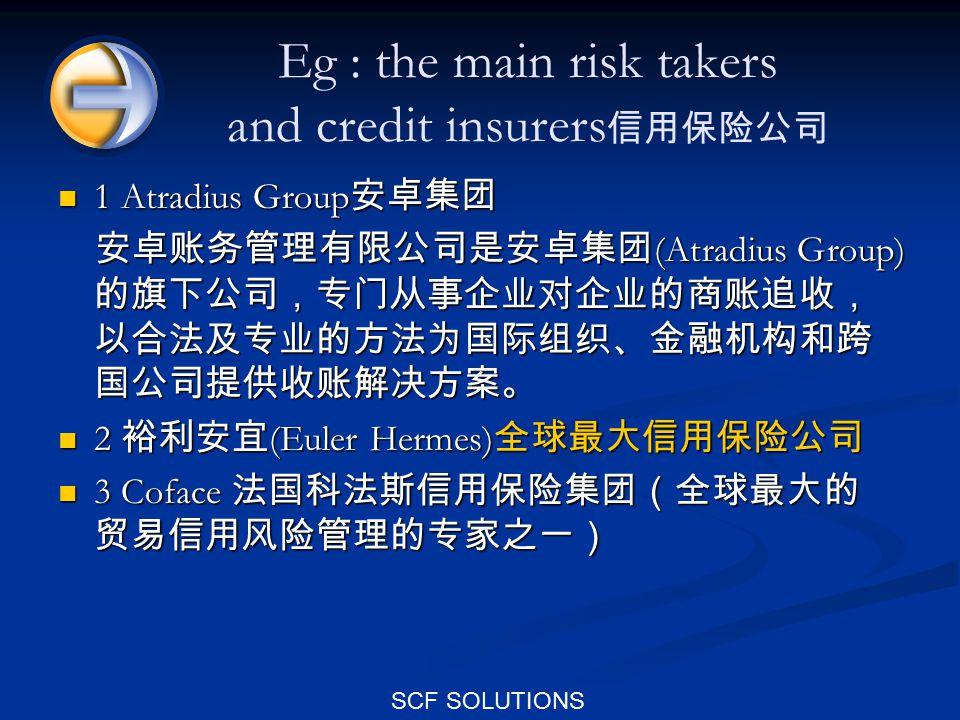 SCF SOLUTIONS Eg : the main risk takers and credit insurers 信用保险公司 1 Atradius Group 安卓集团 1 Atradius Group 安卓集团 安卓账务管理有限公司是安卓集团 (Atradius Group) 的旗下公司,