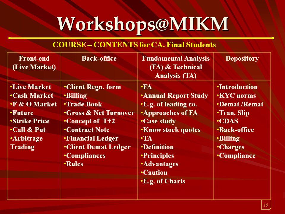 10 Workshops@MIKM Front-end (Live Market) Back-officeFundamental Analysis (FA) & Technical Analysis (TA) Depository Live Market Cash Market F & O Mark