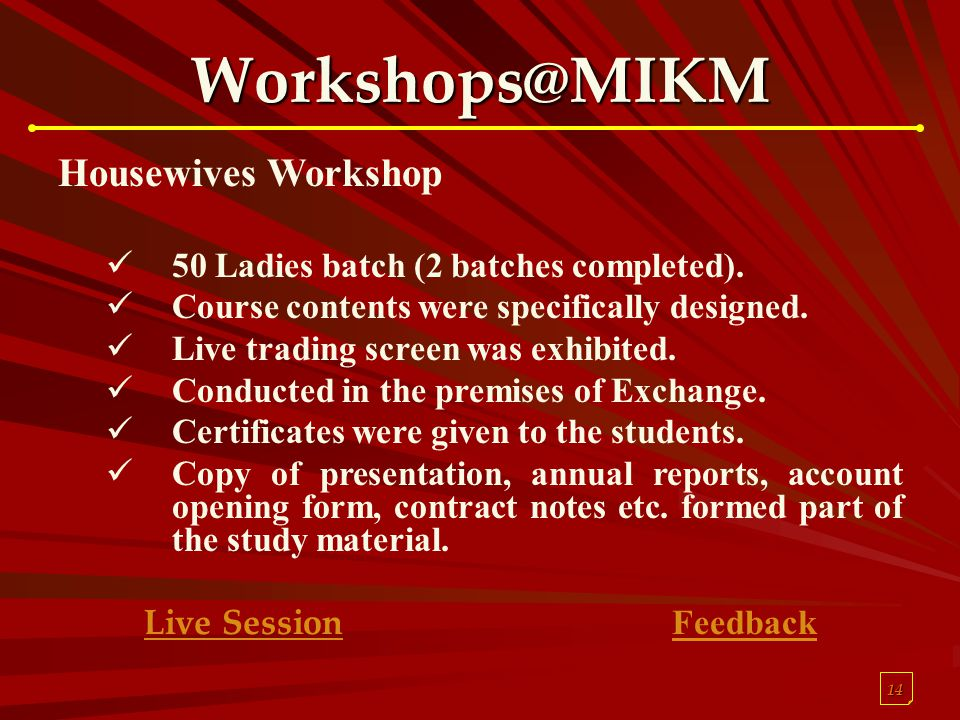 14 Workshops@MIKM Housewives Workshop 50 Ladies batch (2 batches completed). Course contents were specifically designed. Live trading screen was exhib