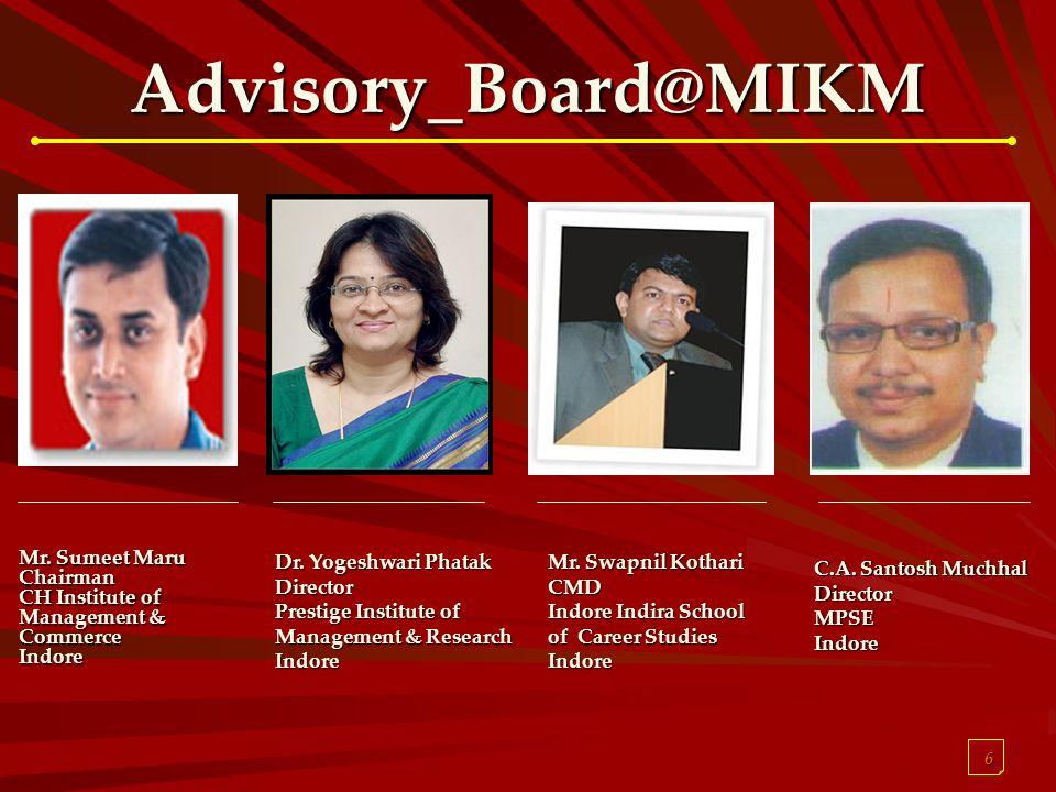 6 Advisory_Board@MIKM Mr. Sumeet Maru Chairman CH Institute of Management & Commerce Indore Dr. Yogeshwari Phatak Director Prestige Institute of Manag