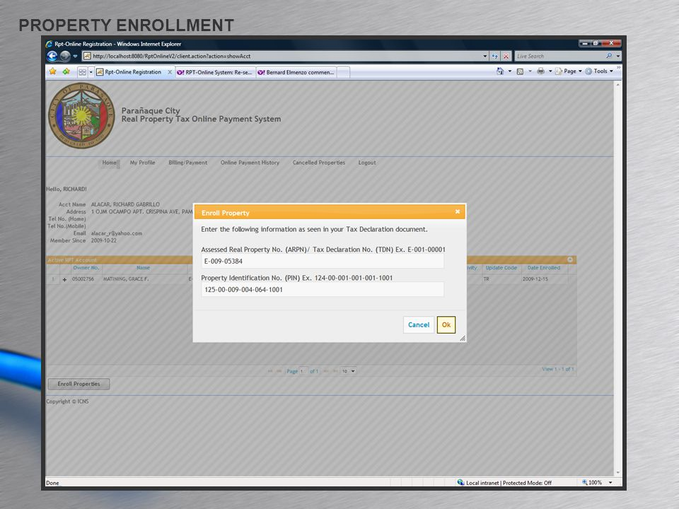PROPERTY ENROLLMENT
