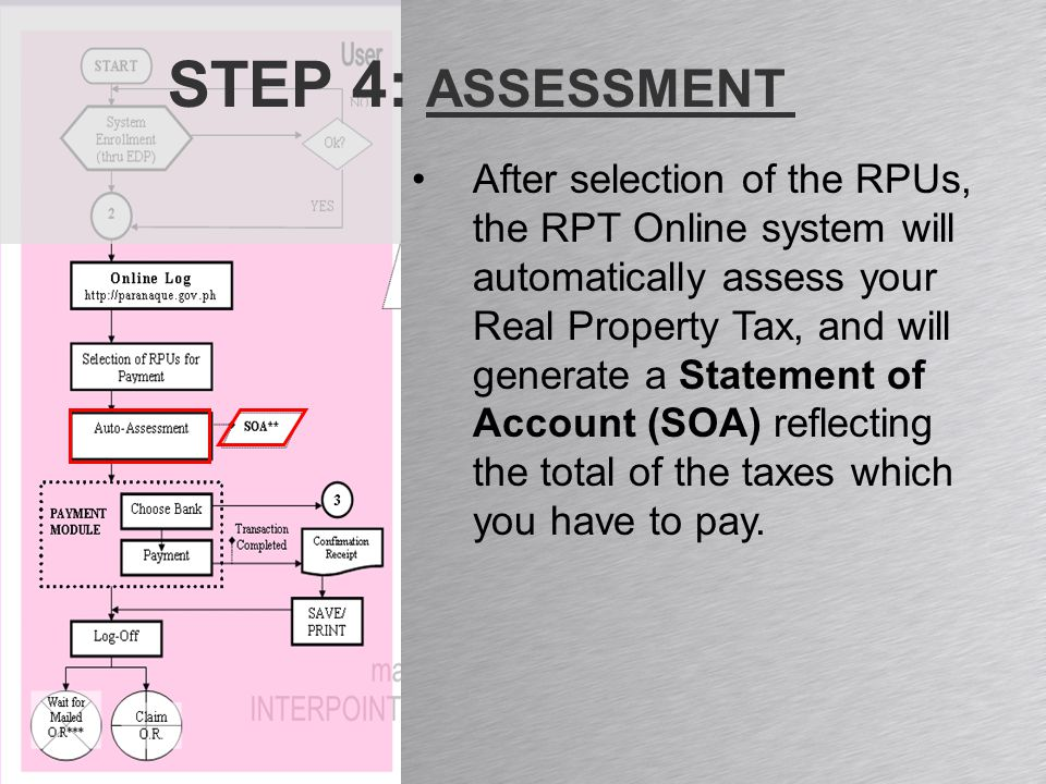 STEP 4: ASSESSMENT After selection of the RPUs, the RPT Online system will automatically assess your Real Property Tax, and will generate a Statement of Account (SOA) reflecting the total of the taxes which you have to pay.