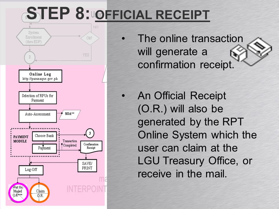 STEP 8: OFFICIAL RECEIPT The online transaction will generate a confirmation receipt.