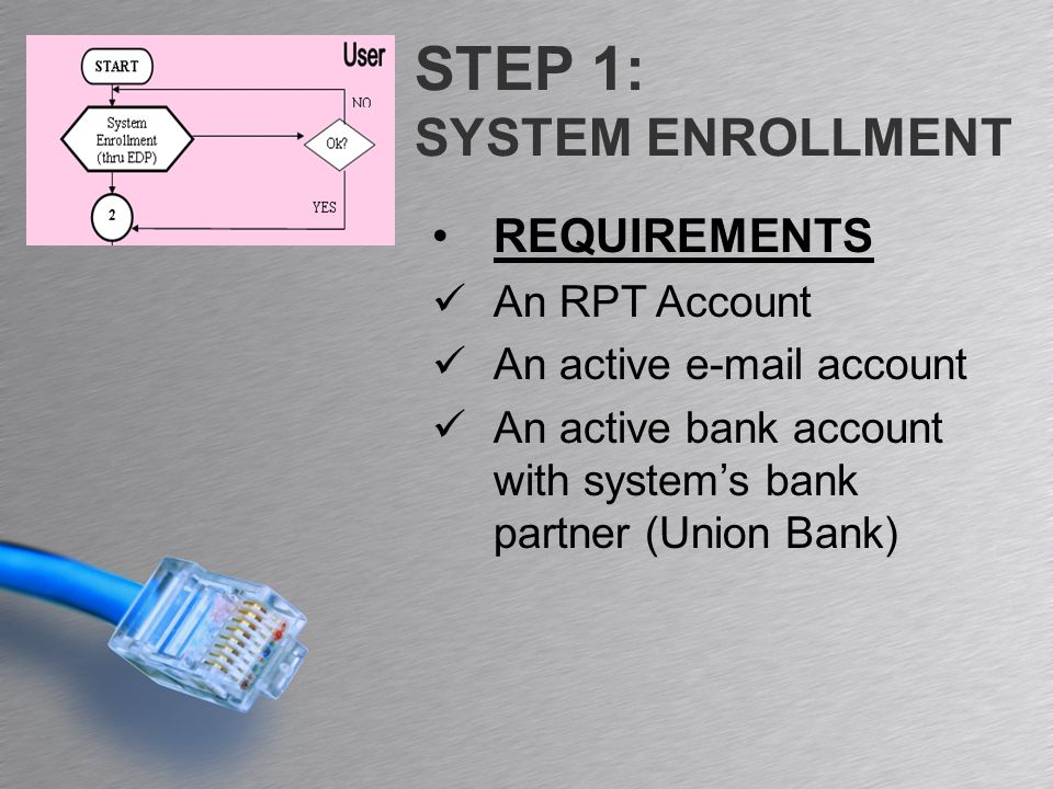 STEP 1: SYSTEM ENROLLMENT REQUIREMENTS An RPT Account An active e-mail account An active bank account with system's bank partner (Union Bank)