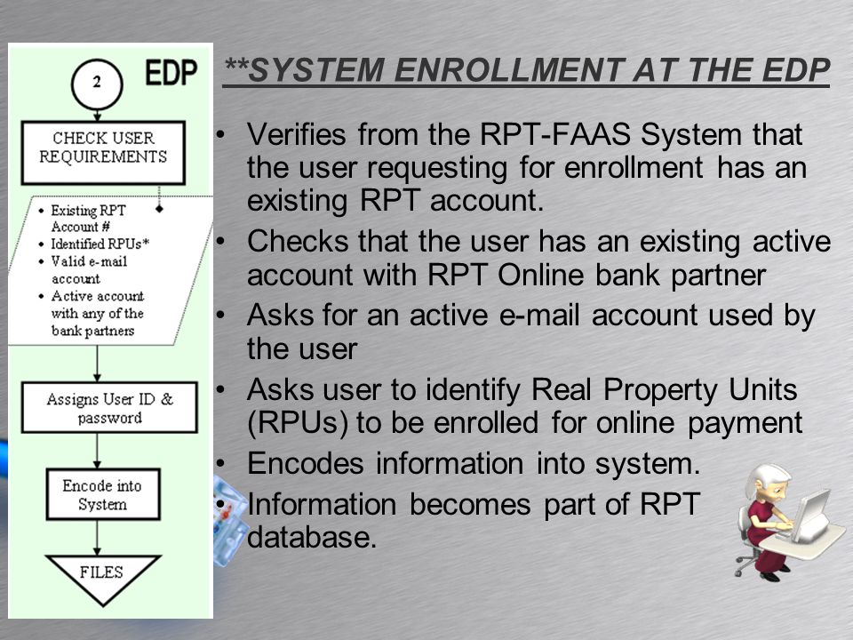 2 STEP 2: SYSTEM LOG-IN REQUIREMENT User ID and Password from EDP PROCESS Connect to the Internet Go to the city website: http://paranaque.gov.ph Find the link to RPT ONLINE, and click Log-in using the assigned User ID and Password EXCEPTIONS Not applicable for Accounts with Delinquencies
