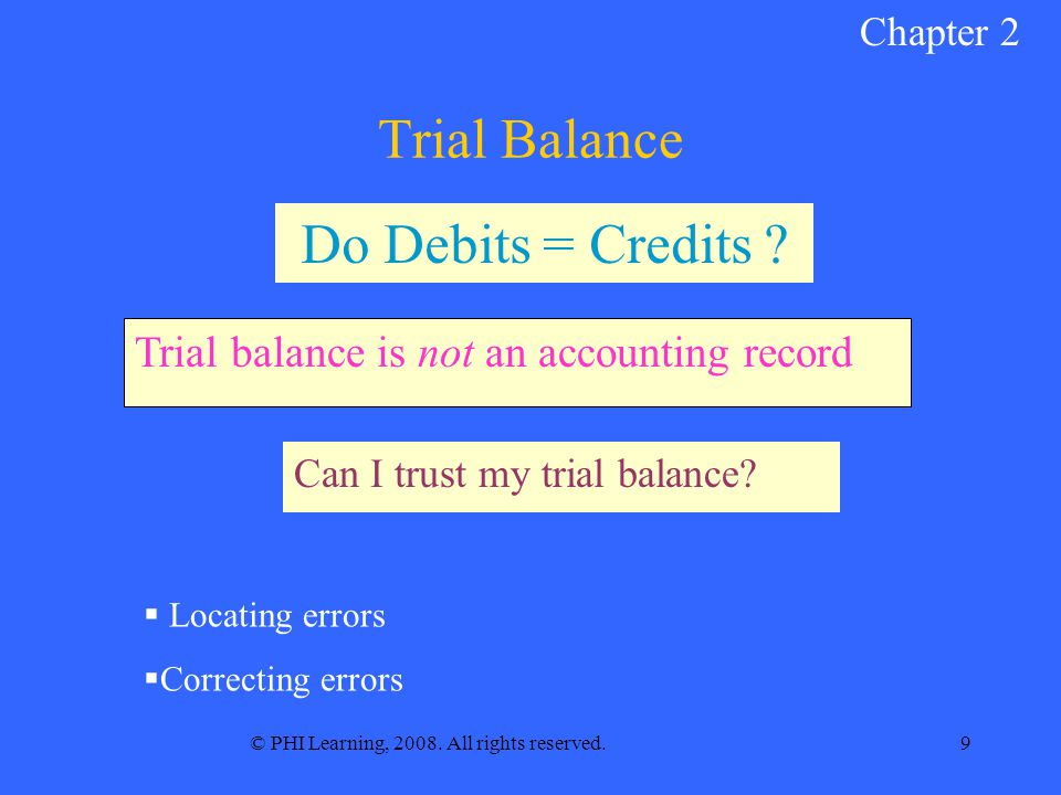 © PHI Learning, 2008. All rights reserved.9 Trial Balance Can I trust my trial balance.