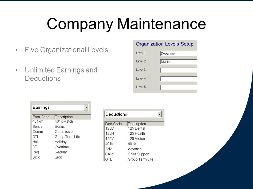 Company Maintenance Five Organizational Levels Unlimited Earnings and Deductions
