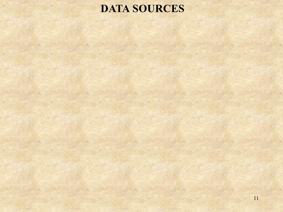 11 DATA SOURCES