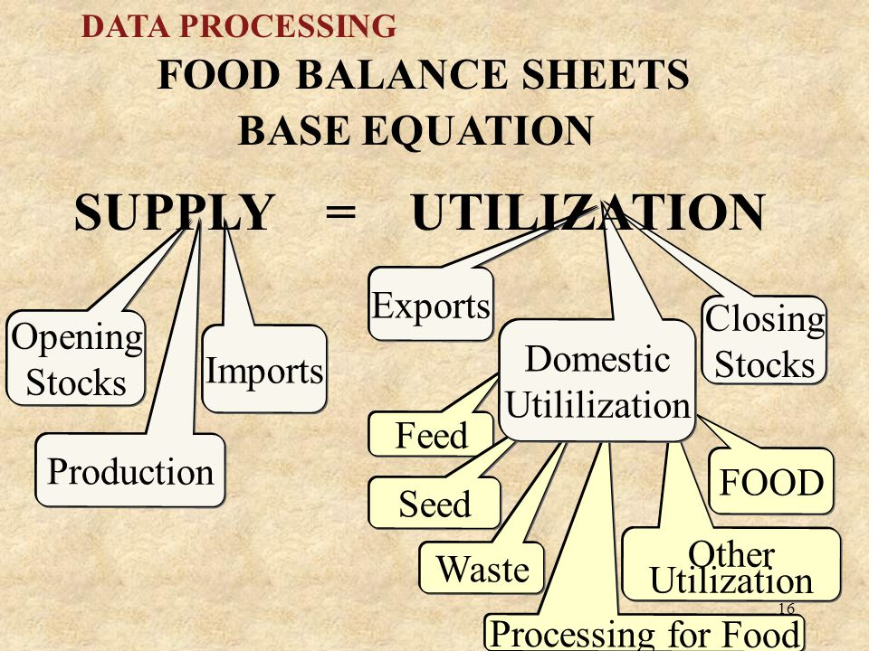 16 DATA PROCESSING BASE EQUATION FOOD BALANCE SHEETS Opening Stocks Production Imports FOOD Feed s Exports Seed Waste Processing for Food Other Utilization Closing Stocks Domestic Utililization SUPPLY = UTILIZATION