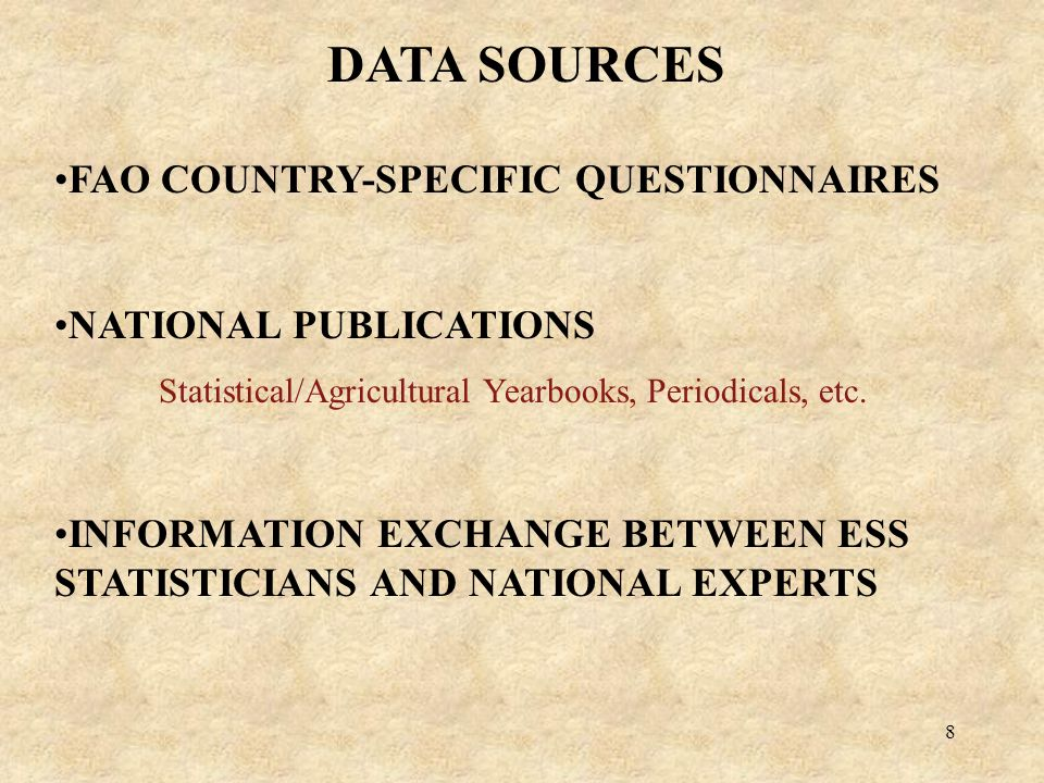 8 FAO COUNTRY-SPECIFIC QUESTIONNAIRES NATIONAL PUBLICATIONS Statistical/Agricultural Yearbooks, Periodicals, etc.