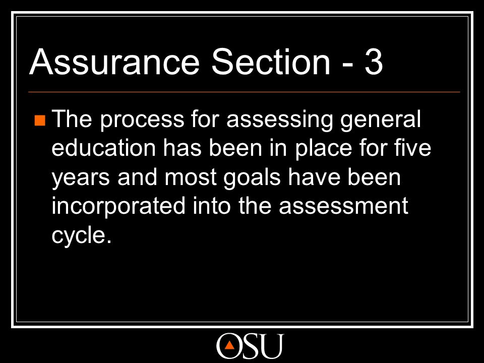 Assurance Section - 3 The process for assessing general education has been in place for five years and most goals have been incorporated into the asse