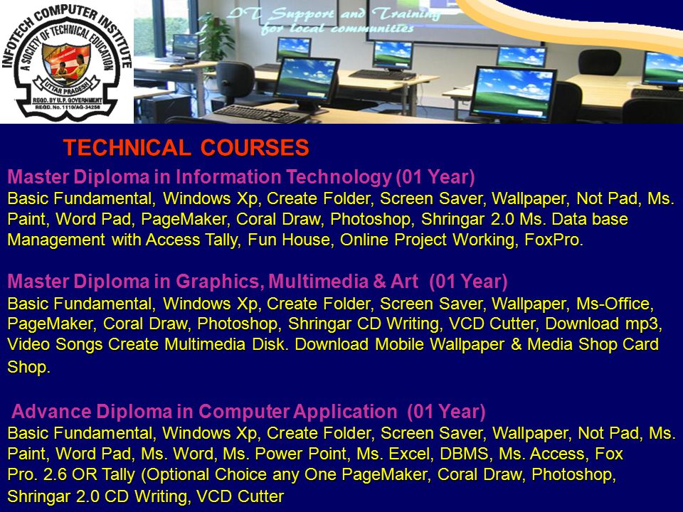 Master Diploma in Information Technology (01 Year) Basic Fundamental, Windows Xp, Create Folder, Screen Saver, Wallpaper, Not Pad, Ms.