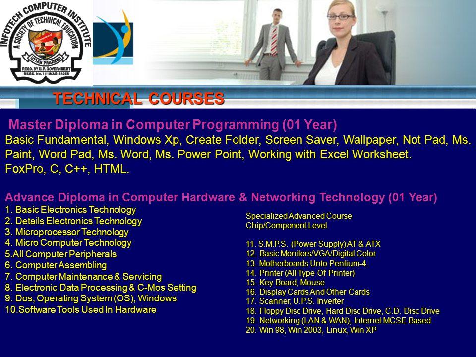 Master Diploma in Computer Programming (01 Year) Basic Fundamental, Windows Xp, Create Folder, Screen Saver, Wallpaper, Not Pad, Ms.