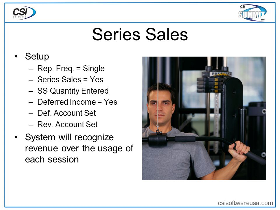 Series Sales Setup –Rep. Freq.