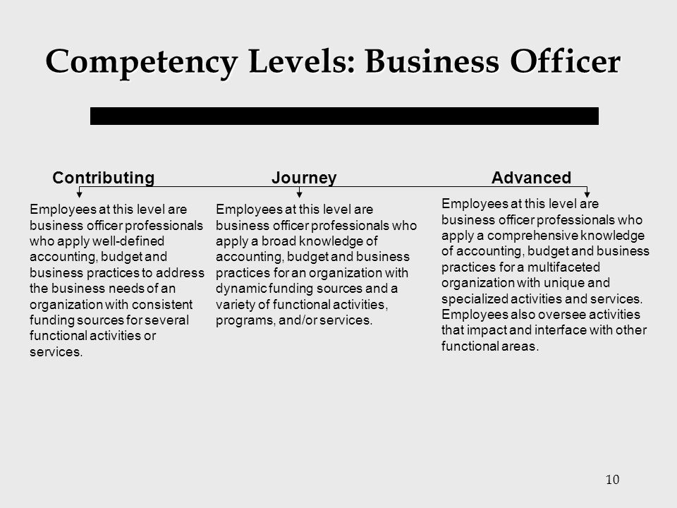 10 Competency Levels: Business Officer Employees at this level are business officer professionals who apply well-defined accounting, budget and busine