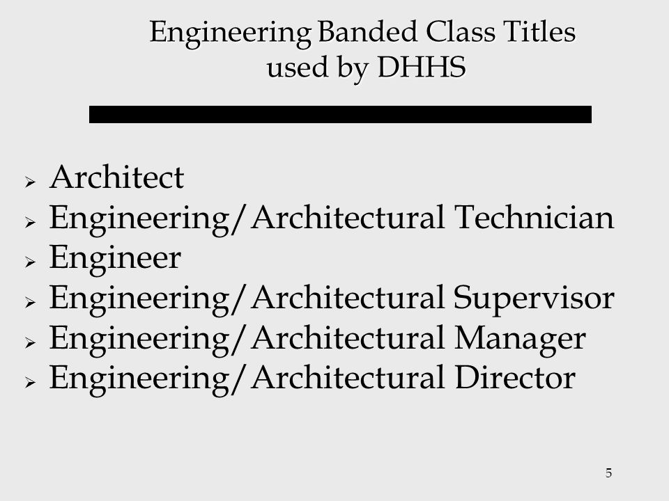 5 Engineering Banded Class Titles used by DHHS  Architect  Engineering/Architectural Technician  Engineer  Engineering/Architectural Supervisor 