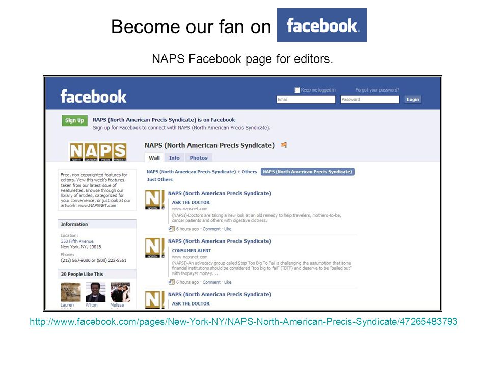 Become our fan on NAPS Facebook page for editors.