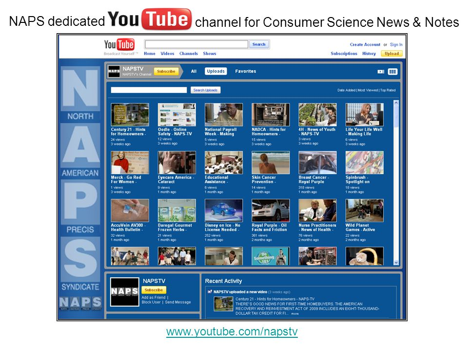 NAPS dedicated www.youtube.com/napstv channel for Consumer Science News & Notes