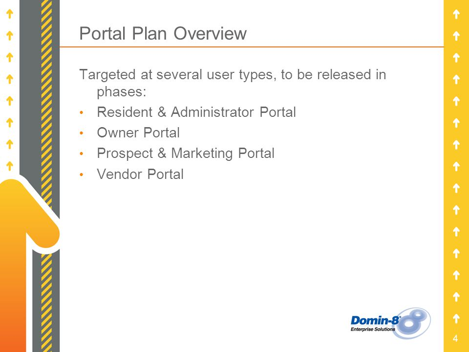 4 Portal Plan Overview Targeted at several user types, to be released in phases: Resident & Administrator Portal Owner Portal Prospect & Marketing Por