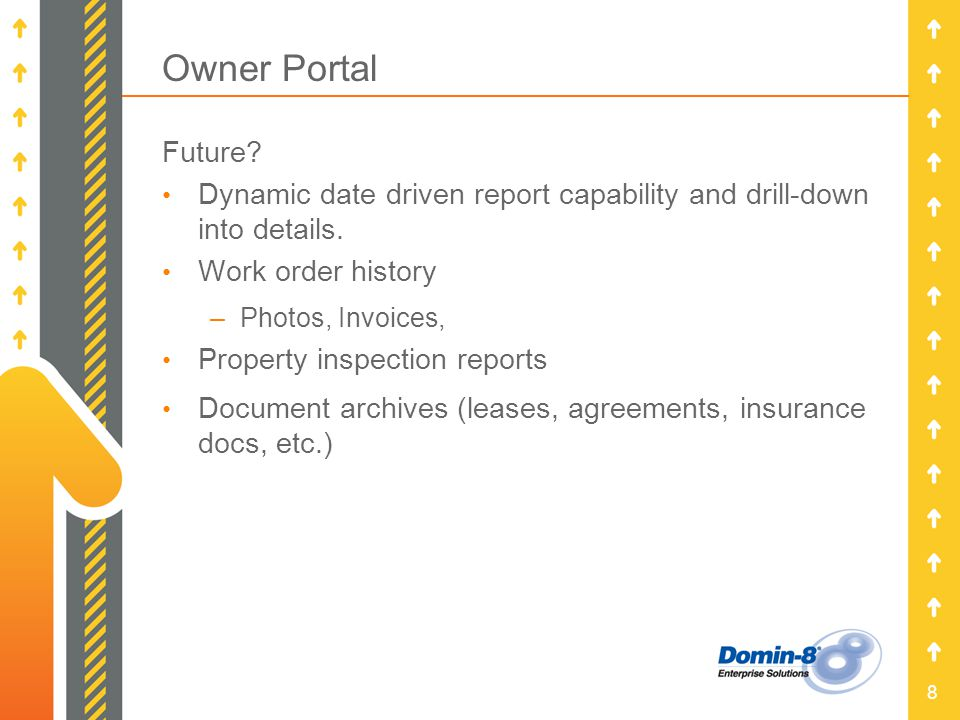 8 Owner Portal Future. Dynamic date driven report capability and drill-down into details.