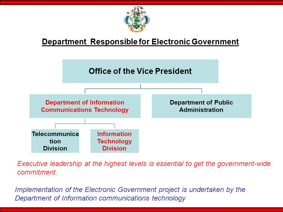 Office of the Vice President Department of Information Communications Technology Telecommunica tion Division Information Technology Division Department of Public Administration Department Responsible for Electronic Government Implementation of the Electronic Government project is undertaken by the Department of Information communications technology Executive leadership at the highest levels is essential to get the government-wide commitment.