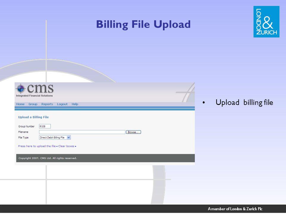 Billing File Upload Upload billing file