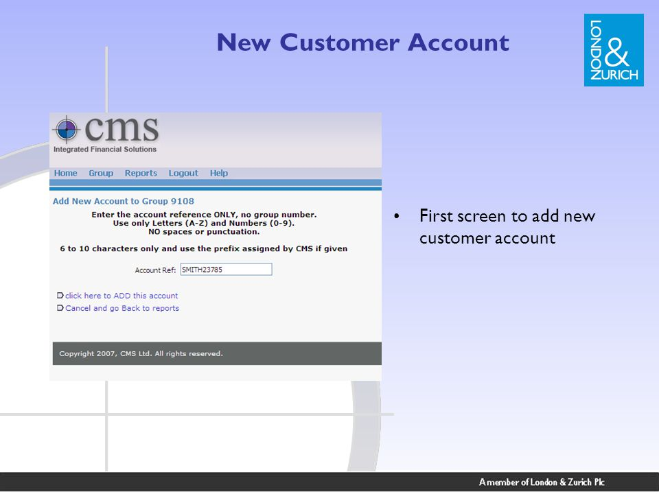 New Customer Account First screen to add new customer account
