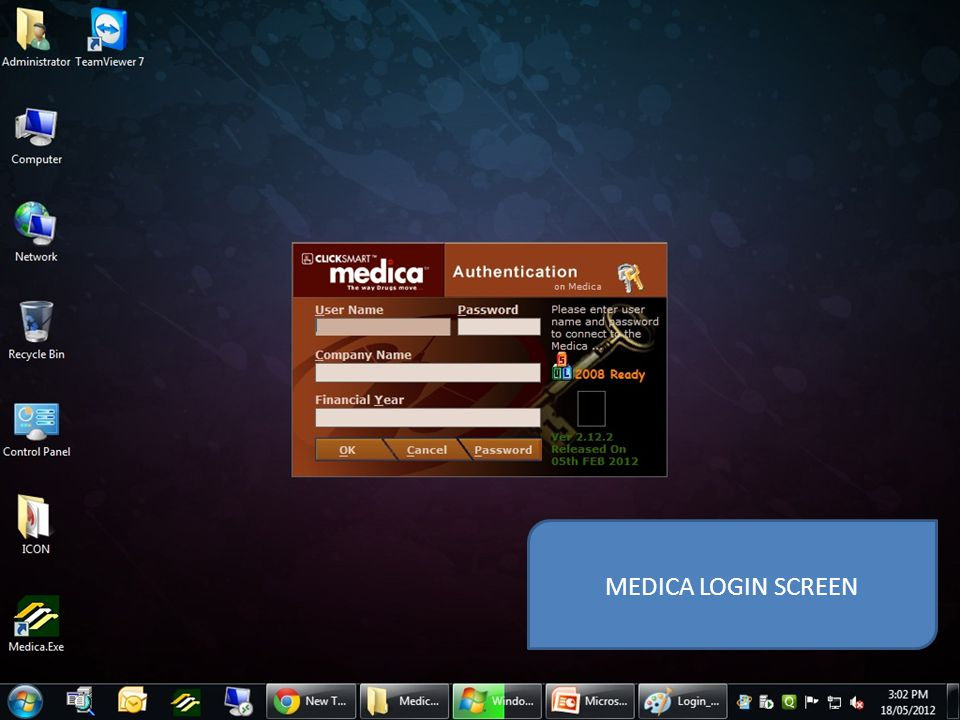 MEDICA LOGIN SCREEN