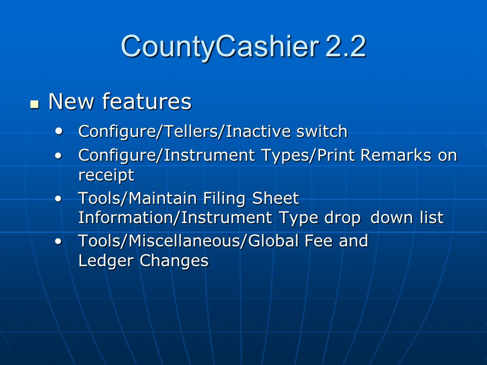 CountyCashier 2.2 Common Problems Common Problems Tools/Display TEMP= environment variable Tools/Display TEMP= environment variable Cashiering/End of Day before month endCashiering/End of Day before month end Accounts Receivable/Month End Processing – check the date before beginningAccounts Receivable/Month End Processing – check the date before beginning Wrong instrument type used on a receiptWrong instrument type used on a receipt Entering wrong transfer tax at time of receipt Entering wrong transfer tax at time of receipt