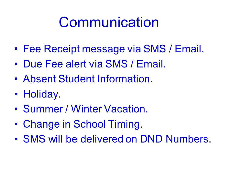 Communication Fee Receipt message via SMS / Email.