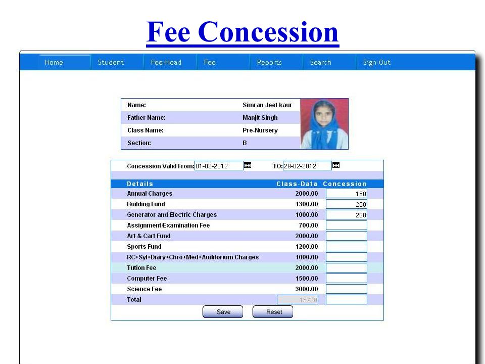 Fee Concession