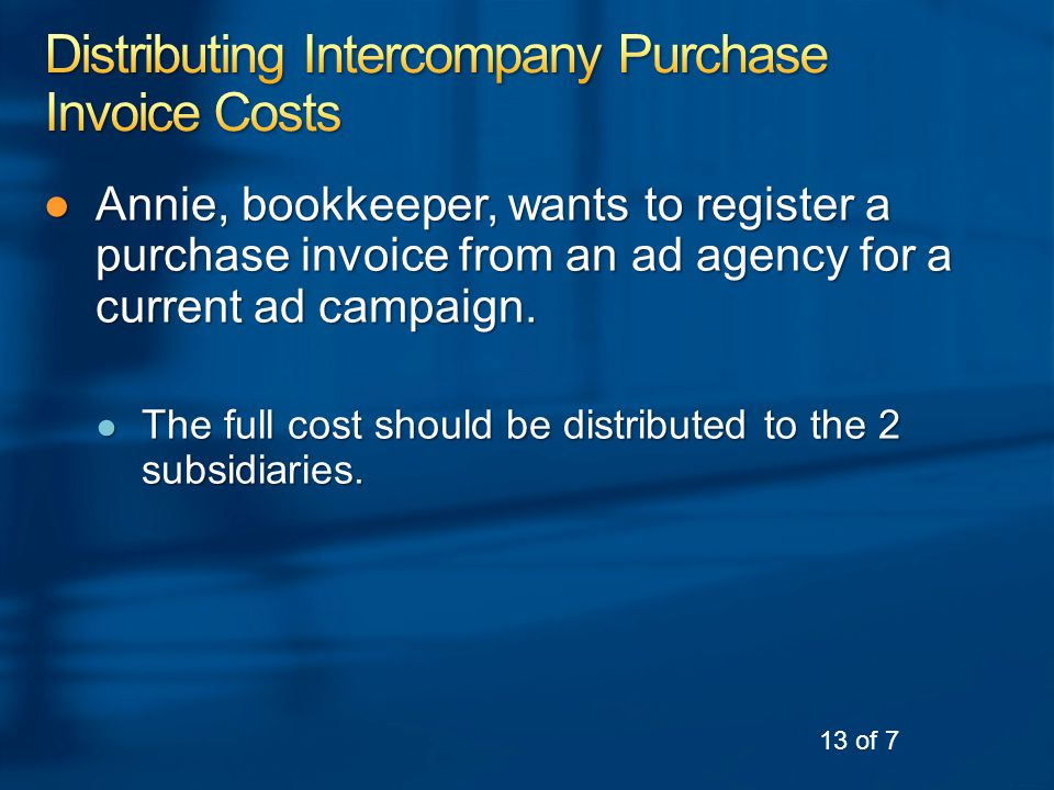 ●Annie, bookkeeper, wants to register a purchase invoice from an ad agency for a current ad campaign.