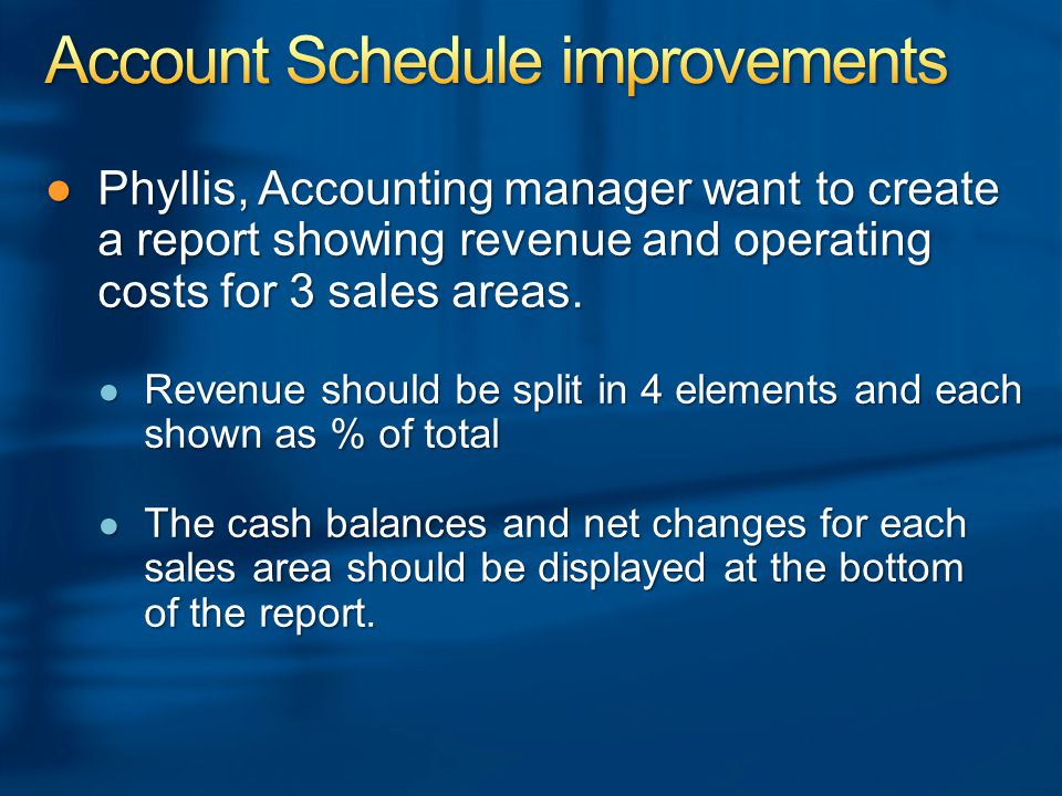 ●Phyllis, Accounting manager want to create a report showing revenue and operating costs for 3 sales areas.