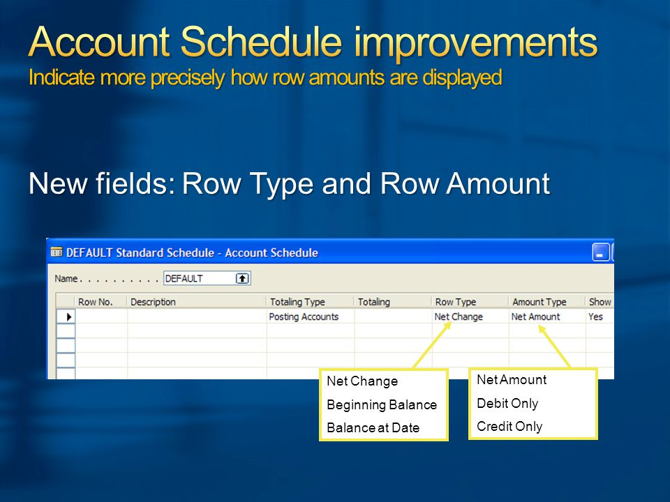 New fields: Row Type and Row Amount Net Change Beginning Balance Balance at Date Net Amount Debit Only Credit Only