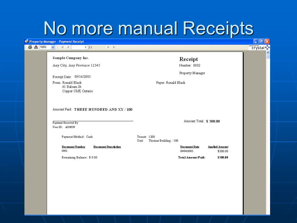 No more manual Receipts