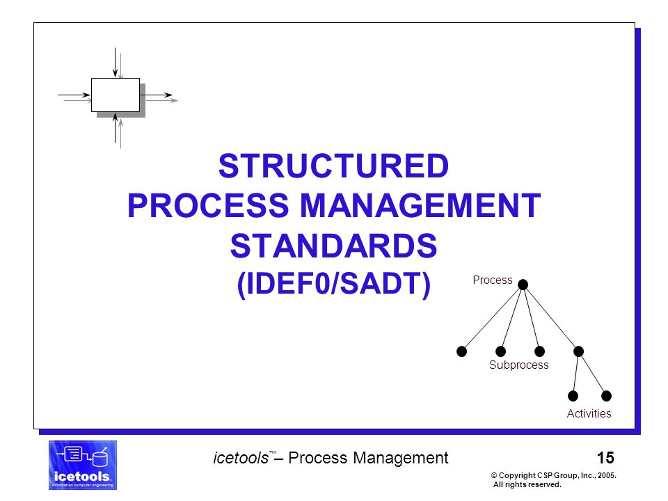 15 icetools – Process Management © Copyright CSP Group, Inc., 2005. All rights reserved. ™ STRUCTURED PROCESS MANAGEMENT STANDARDS (IDEF0/SADT) Proces
