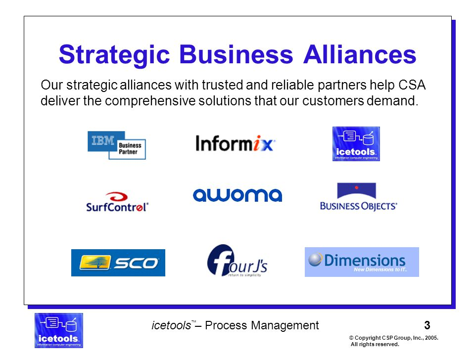 3 icetools – Process Management © Copyright CSP Group, Inc., 2005. All rights reserved. ™ Strategic Business Alliances Our strategic alliances with tr