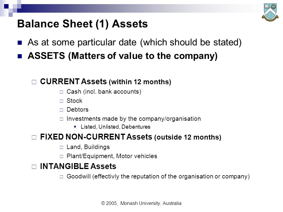 © 2005, Monash University, Australia Balance Sheet (1) Assets As at some particular date (which should be stated) ASSETS (Matters of value to the company)  CURRENT Assets (within 12 months)  Cash (incl.