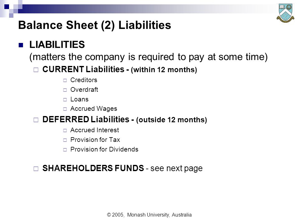 © 2005, Monash University, Australia Balance Sheet (2) Liabilities LIABILITIES (matters the company is required to pay at some time)  CURRENT Liabilities - (within 12 months)  Creditors  Overdraft  Loans  Accrued Wages  DEFERRED Liabilities - (outside 12 months)  Accrued Interest  Provision for Tax  Provision for Dividends  SHAREHOLDERS FUNDS - see next page